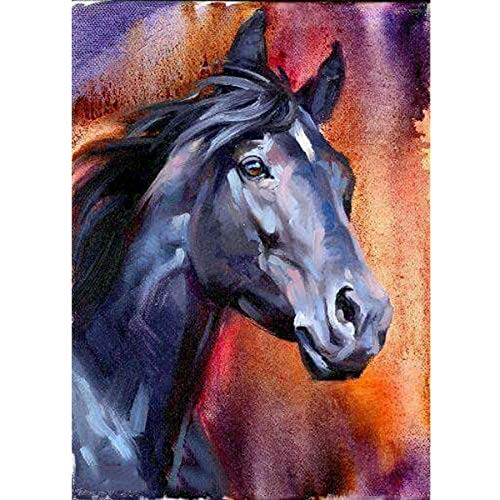 DIY 5D Diamond Painting Full Round Drill Kit Rhinestone Picture Art Craft for Home Wall Decor 12x16In Gray-Blue Horse