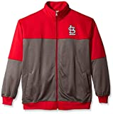 MLB St. Louis Cardinals Men's Poly Fleece Yoked Track Jacket with Wordmark Logo, 3X, Red/Gray