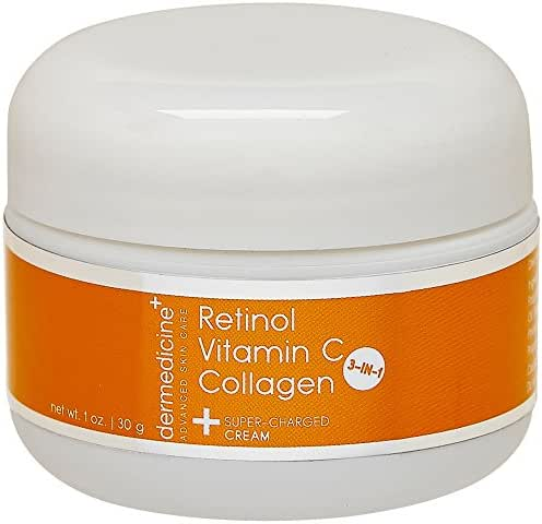 Vitamin C + Retinol + Collagen | Super Charged Anti-Aging Cream for Face | Pharmaceutical Grade Quality | Helps Smooth & Plump Fine Lines & Wrinkles & Brightens for Younger Skin | 1 oz / 30 g