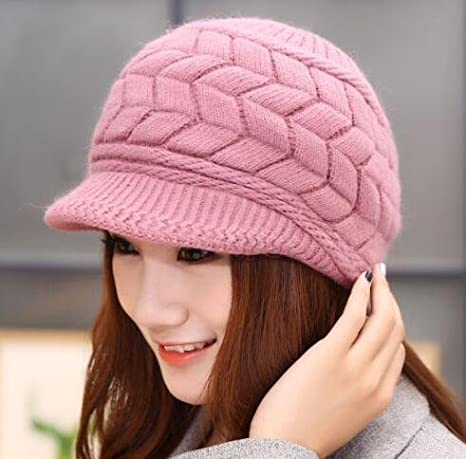 577058e5f7ed1c Cuca Dunna Winter Cap Women Knitted Hats Girl Fashion Slouchy Wool Beanie  Ski Berets Hat with visor Snapback Caps, Black at Amazon Women's Clothing  store: