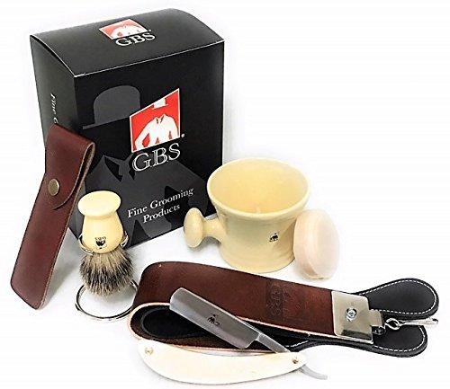 GBS Premium Classic Ivory Straight Razor Shaving Set - Shave Ready Straight Razor, Honing Sharpening Strop, Leather Case, Ceramic Mug, Badger Bristle Brush, Stand & Soap Vintage Wet Shaving Set