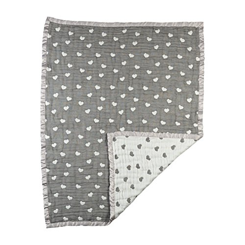 Heart Baby Blanket (Living Textiles Cotton Muslin Jacquard Baby Blanket - Sketched Hearts)
