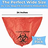No Leak, Hospital Grade Biohazard Waste Bags 50