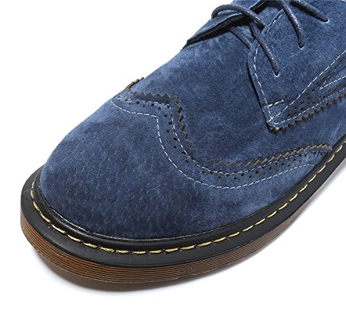 Smilun Girl¡¯s Derby Classic Lace-up Shoes Suede Faux Leather Flats Office Business Dress Shoes for Girl Dark Light Blue Size 6 B(M) US by Smilun (Image #3)