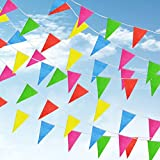 Doubletwo Colorful Pennants Flags Banner Party Bunting Banner Party Decorations Rainbow Pennant Banner 38 Meters 100 Flags