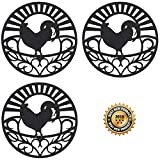 Silicone Trivet Set For Hot Dishes | Modern Kitchen Hot Pads For Pots & Pans | Country Rooster Design (Symbol of Prosperity & Good Luck) Mimics Cast Iron Trivets | 7.5' Round, Set of 3, Black