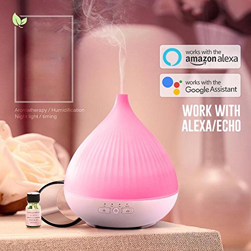 JIAYUE Aromatherapy Essential Oil Diffuser NWE-05 Ultrasonic Mute Humidifier Room Water Drop Shape Air Purifier Smart APP Voice Control LED Color Night Light Home Office 280ML, White