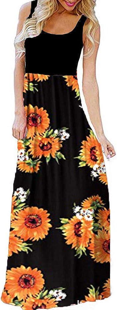 Ulanda-EU Womens Plus Size Maxi Dresses Ladiess Sleeveless Floral Printed Sundress Casual Beach Holiday Party Tank Long Summer Dress