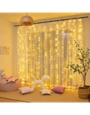 Tenda Luminosa LED, Tenda con Catena di Luci, 3x3㎡, Impermeabilità IP44, Stelle LED A Catena di Luce, Tenda di Luci per Natale, Decorazione Feste, Interni ed Esterni, 8 Modalità