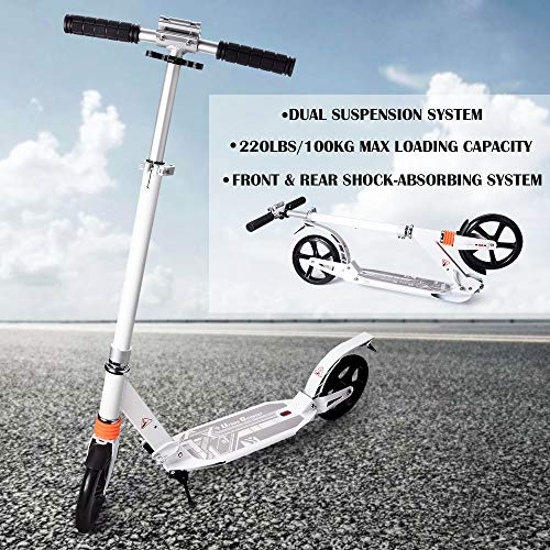 Adjustable Kick Scooter for Kids and Adult Foldable Commuter Scooter with 8 inch Big Wheel Folding Smooth Riding 220 lbs Weight Limit with Shoulder Strap -Dual Suspension Rear Fender Brake