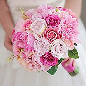 Deep Powder & Pink Orange Wedding Bouquet Bride Hand Holding Flower Bridesmaid Pectoral Bride's Artificial Peony Bouquet 25