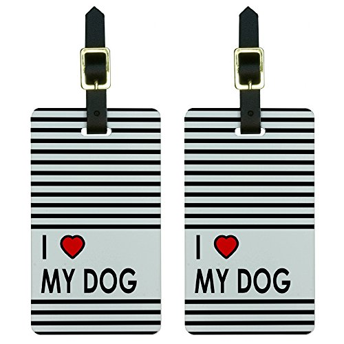 ve Heart My Dog Luggage Tags Suitcase Carry-on Id, White (Heart Design Luggage Tags)