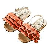 lakiolins Toddler Girls Layered Pleated Slip On Slides Summer Beach Slingback Flat Sandals Orange Size 25