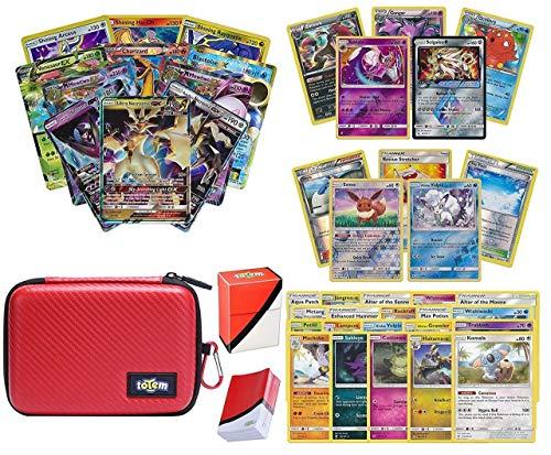 Totem World Pokemon Premium Collection Ultra Rare with 100 Pokemon Cards - Poke Ball Theme Card Case - 100 Sleeves - Deck Box