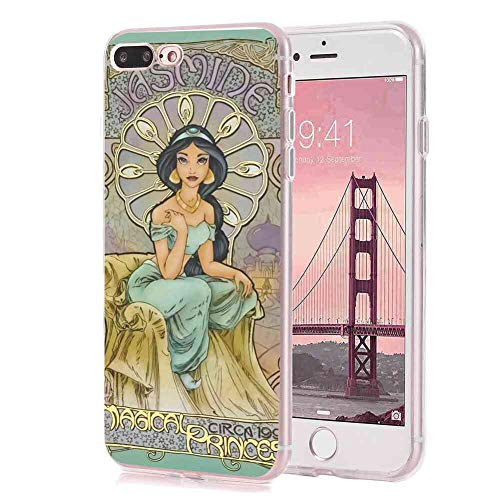 DISNEY COLLECTION Clear Crystal Phone Case Fit for iPhone 7 Plus, iPhone 8 Plus Jasmine Princess Finger Resistant Shockproof Slim Light Rub Protective Cover -