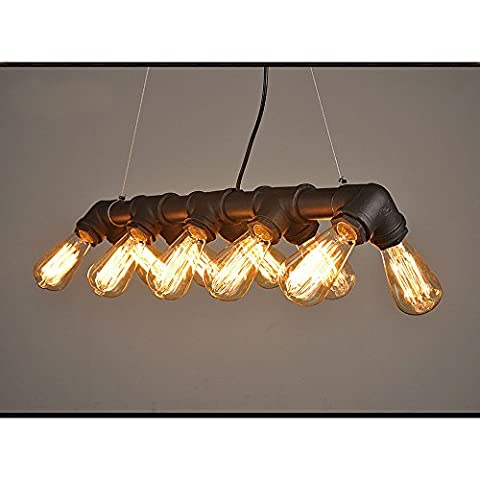 WINSOON Retro INDUSTRIAL STEAMPUNK LAMP IRON PIPE ISLAND CEILING FIXTURE PENDANT LIGHT VINTAGE (Black)