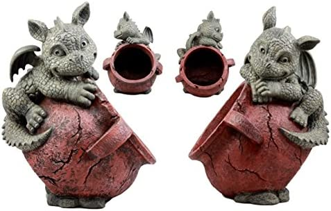Ebros Gift Set of Two Playful Climbing Dragon Babies Planter Pot Mythical Fantasy Home Patio Garden Decor Resin Statue