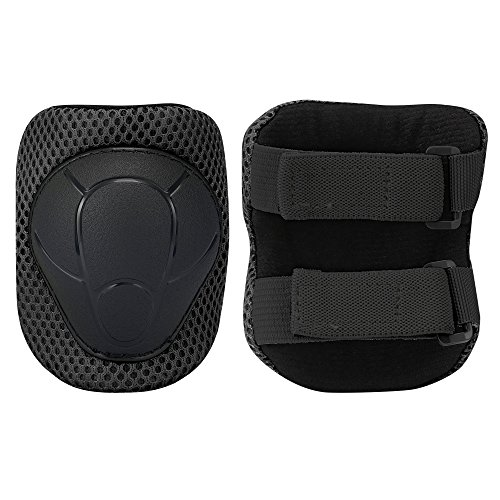 Sports Protective Gear Safety Pad Safeguard (Knee Elbow Wrist) Support Pad Set Equipment for Kids Roller Bicycle BMX Bike Skateboard Protector Guards Pads,(Black) by KUYOU (Image #3)
