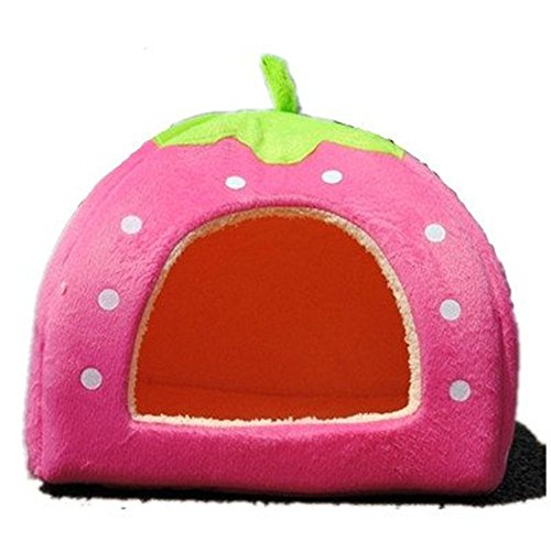 Strawberry Small Cotton Soft Dog Cat Pet Bed House (S, Pink)
