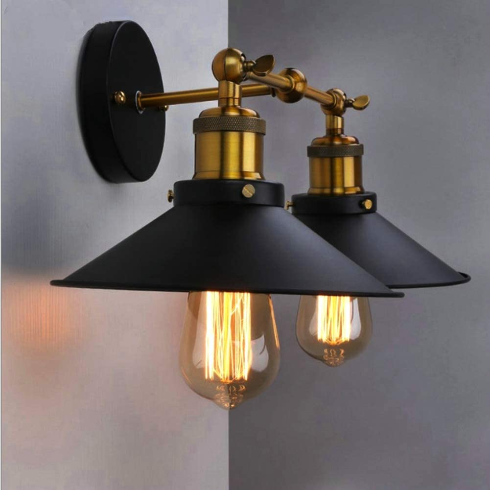 Aplique de pared industrial Vintage Exterior interior ,Metal negro impermeable IP65  Lámpara de pared ajustable  Simplicidad brazo columpio luces de pared  para dormitorio pasillo balcón,doublehead