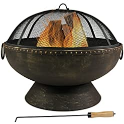 Firepits Sunnydaze Outdoor Fire Pit Bowl – 30 Inch Large Round Wood Burning Patio & Backyard Firepit for Outside with Spark… firepits