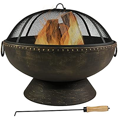 Sunnydaze Outdoor Fire Pit Bowl - 30 Inch Large Round Wood Burning Patio & Backyard Firepit for Outside with Spark Screen, Fireplace Poker, and Metal Grate - LARGE SIZE: Perfect to fit many people around for a bonfire in the patio, yard, deck, porch, lawn, or garden; Overall 30 inch diameter firebowl x 24 inch tall with spark screen (15 inch tall without), weighs 23 pounds; Base is 6 inch tall with 20 inch diameter; Lip is 0.25 inches thick; Steel is 2 mm thick HEAVY DUTY AND RUST RESISTANT: Deep metal firepit bowl is made from durable thick steel and black high-temperature paint finish for heat and rust resistance; Portable handles allow the fireplace to be moved anywhere and has decorative brass-colored highlights that complements any outside style FIRE SAFETY: Outdoor fire pit set includes mesh spark screen protector for added safety from flying sparks, poker tool to easily control the flames or logs in the fire, and wood grate for better air flow; All the accessories needed to create cozy memories in the backyard or while camping - patio, outdoor-decor, fire-pits-outdoor-fireplaces - 51 BnlYXjhL. SS400  -