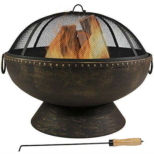 Sunnydaze Outdoor Fire Pit Bowl - 30 Inch Large Round Wood Burning Patio & Backyard Firepit for Outside with Spark Screen, Fireplace Poker, and Metal - Chimenea Round