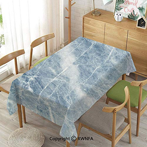 Homenon Decorative Rectangular Table Cloth,Marble,Indoor Outdoor Camping Picnic,Light Blue White,55