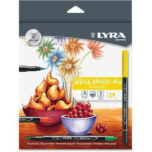 6521240 LYRA Dual Tip Marker, Assorted, 24 per Pack - Fine, Broad Marker Point Type - Brush Marker Point Style - Assorted Ink - 24 / - Lyra Tip Marker Dual
