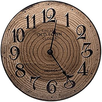 Amazoncom Round Wood Bark Rustic Wall Clock Rustic Decor Home