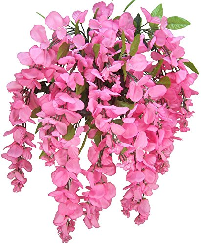 Artificial Wisteria Long Hanging Bush Flowers - 15 Stems For Home, Wedding, Restaurant and Office Decoration Arrangement, Pink