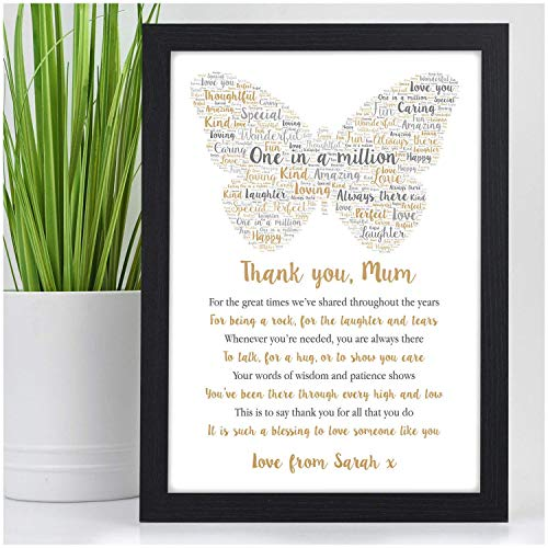 PERSONALISED Butterfly POEM Gifts for Her Nanny Mum Birthday Christmas Xmas Keepsake Gifts – Birthday Christmas Mothers Day Gifts – A5 A4 Framed Prints or 18mm Wooden Blocks – Mum Mummy Nanny ANY NAME