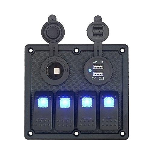 EZYKOO DC 12V/24V Waterproof 4 Crowd Circuit LED Rocker Switch Panel with Cigarette Power Outlet Socket and Dual USB Power Charger Adapter for Car Trcuk Trailer RV ATV Sea Boat