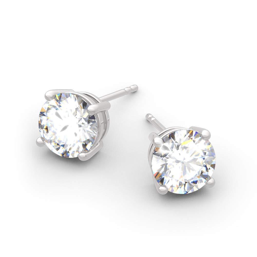 Jeulia Classic Round Cut Sterling Silver Stud Earrings Round Clear CZ Jewelry Womens Stud Earrings Cubic Zirconia Gift for Women /& Girls Love Party Jewelry ValentineS Day,WomenS Day Gift For Ears