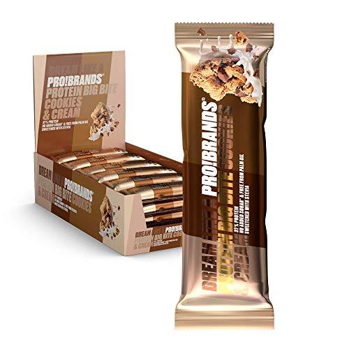 Probrands – Proteïnereep met Hoog Proteïnegehalte (37%) Smaak van koekjes en room, Met chocolade Zonder Toegevoegde…