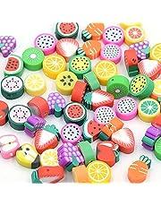 Guanyj 100 Stuks Polymeer Klei Kralen Handgemaakte Fruit Gemengd Fruit Kralen Klei Kraal Fruit voor Sieraden Maken voor Kinderen Gebruikt om Handgemaakte Sieradenaccessoires te Maken