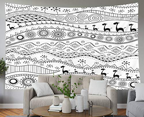 Shorping Father Gift Tapestry, 60x50Inches Home Wall Hanging Tapestries Art for Décor Living Room Dorm Hand Drawn Ethno Pattern Tribal Background It can be Used for Wallpaper Web Page and Others