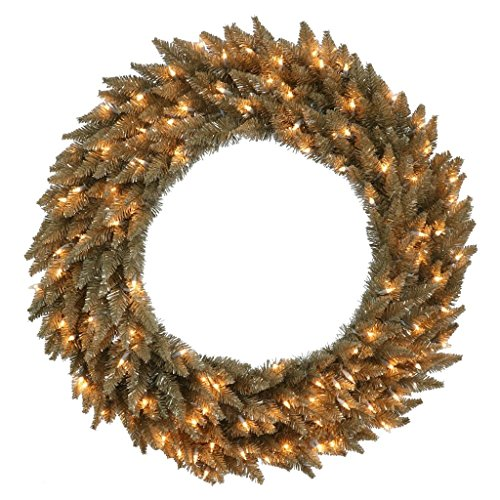 Vickerman K156449 Fir Wreath with 480 Pvc Tips & 150 Dura Lit Mini Lights on Grey Wire, 48'' , Clear/Antique Champagne by Vickerman