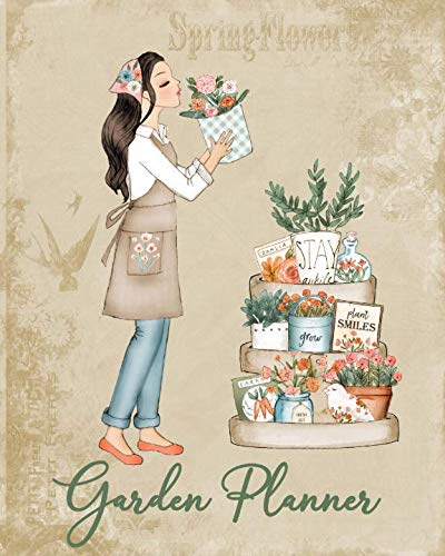 GARDEN PLANNER: WORKBOOK, LOG, NOTEBOOK, LOGBOOK JOURNAL, with COLORING PAGES, Girl Smelling Pot]()