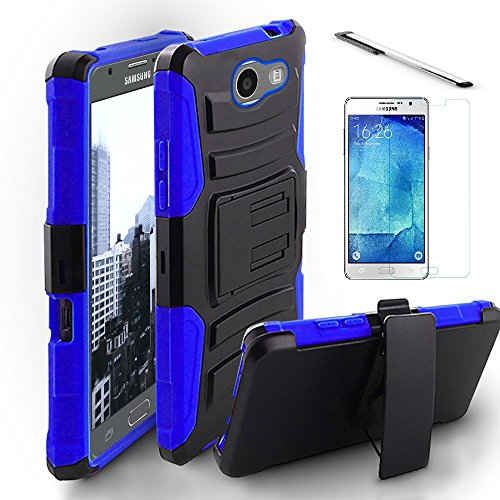 Luckiefind Compatible with Galaxy J7 Perx/Galaxy J7 Prime/Galaxy Halo/Galaxy J7 V/J7 Sky Pro, Dual Layer Hybrid Side Kickstand Cover Case With Holster Clip (Holster Blue)