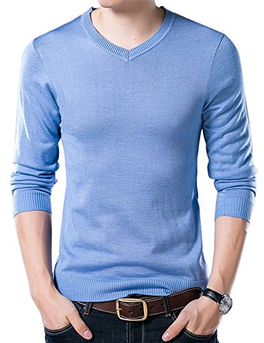 (Yeokou Men's Casual Slim V Neck Winter Wool Cashmere Pullover Jumper Sweater,Light Blue,Medium)