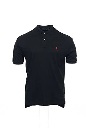 Polo Ralph Lauren Mens Classic Fit Interlock Polo Shirt (Small, Black )