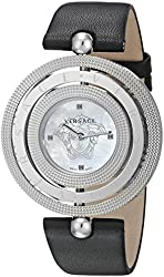 Versace Women's VQT010015 Eon Stainless Steel Watch With Black Leather Band