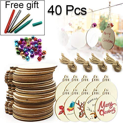 Natural Wood Slices, ZALALOVA 40Pcs Wooden Ornaments Unfinished with Hole DIY Crafts Kits 23 Feet Jute Twine 40 Colorful Bells 4 Color Pens for Arts Ornaments Kits Gifts Decoration