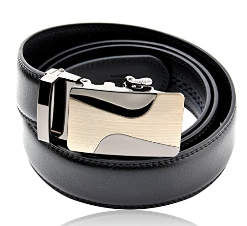 [Men's Black Full Grain Leather Dress Belt, with 35 mm Automatic Ratchet Alloy Removable Buckle] (Changeable Buckle)