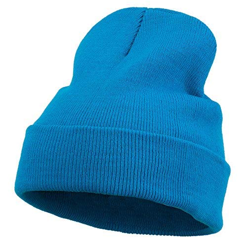 12 Inch Long Knitted Beanie - Aqua OSFM