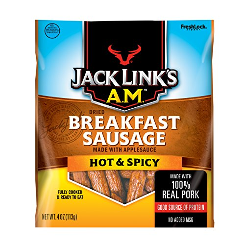 Jack Links A.M. Breakfast Sausage, Hot and Spicy, 4 oz. Bag - Flavorful, On-the-Go Snack with 9g of Protein, Fully Cooked and Ready to Eat, Made with 100% Real Pork - No Added MSG