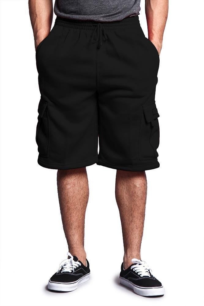 Victorious G-Style USA Men's Solid Fleece Cargo Shorts DFP1 - Black - 3X-Large