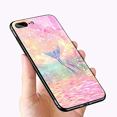 e 7 Case Mermaid's Tail Design Printing Tempered Glass Bumper Frame Shockproof Anti-Scratch Case for Apple iPhone 7/8 ()