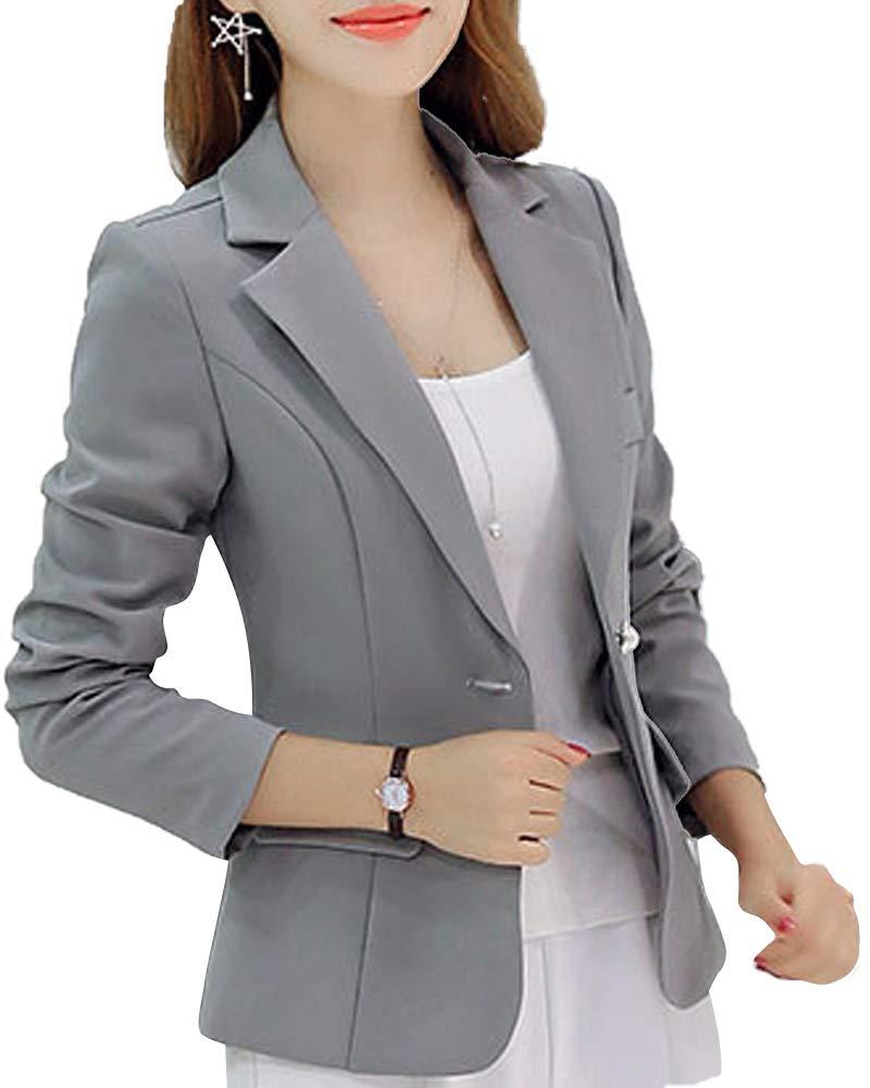 LISUEYNE Women's Casual Work Single Button Blazer Slim Jackets Office Work Ladies Blazers
